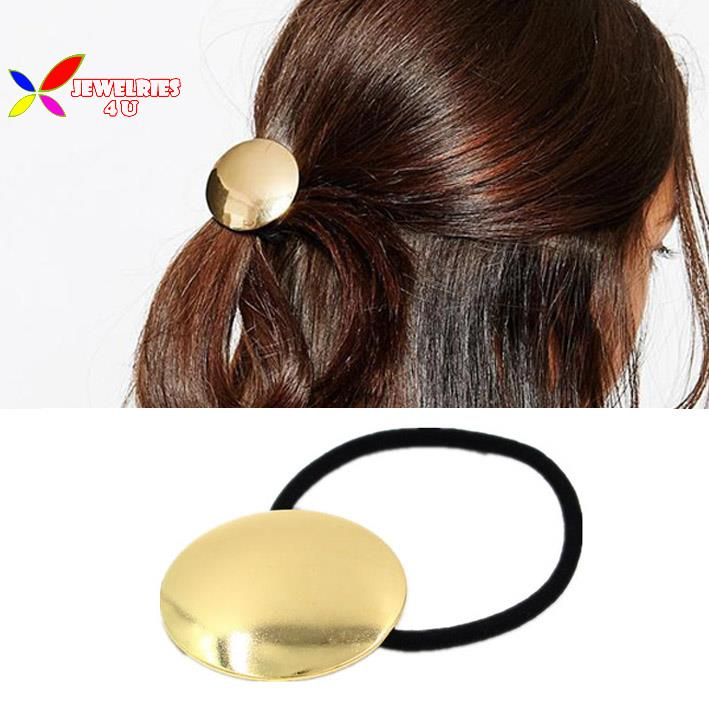 Get Quotations · 2015 fashion gold metal circle hair-bands elastic hair  holder tie hair bands for women f43b2afdf65