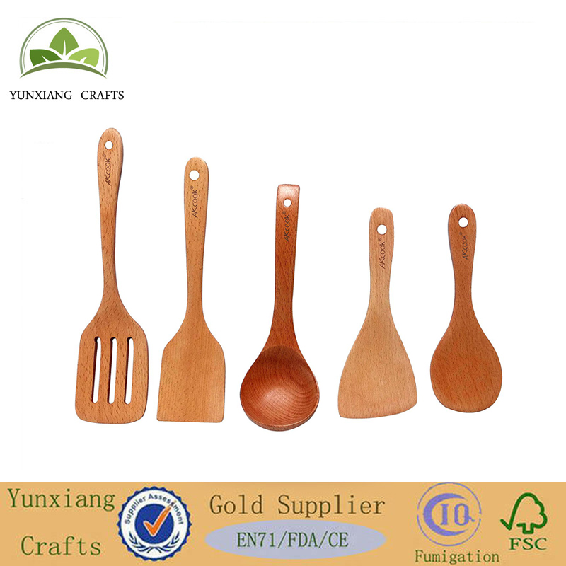 Cooking Tools 5-Piece Wood Kitchen Utensils