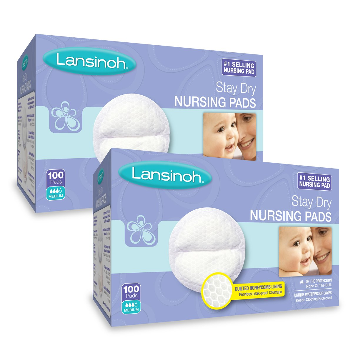 Lansinoh Stay Dry Disposable Nursing Pads, Number One Selling Breastfeeding Pad For Breastfeeding Mothers, Leak Proof Protection, Maximun Comfort and Discretion, 2 Packs of 100 Count (200 Count)