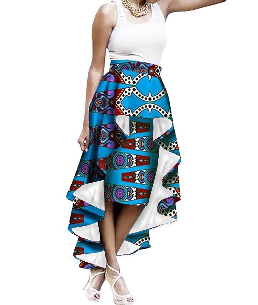 6edd0f518f6 Get Quotations · Liyuandian Womens African Print High Waisted Skirts  Dashiki High Low Asymmetrical Long Maxi Skirt