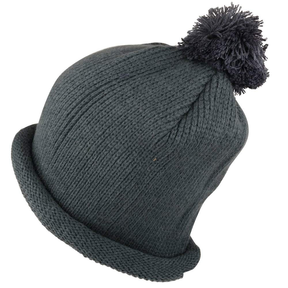 d465cf0f3a7 Get Quotations · Winter Solid Color Roll Up Knit Beanie Hat with Pom Pom
