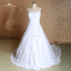 J-oo37 lace organza long train sleveeless lace handmade beading ball gown wedding dress