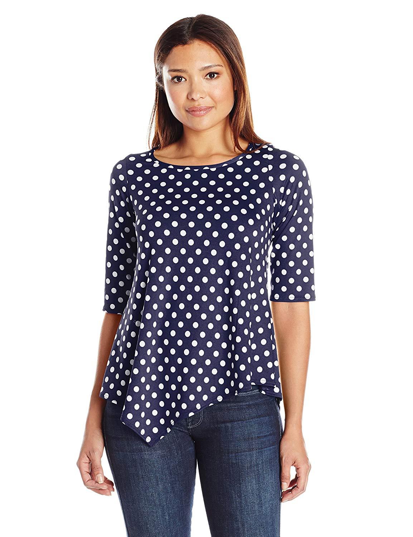 45bcf97b535bba Star Vixen Women's Petite Short Sleeve Stretch Ity Knit Top Keyhole Cutout  Back Shirttail Hem