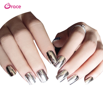 B29 artifical false finger nail press on salon false nail decorated metallic false nail tips