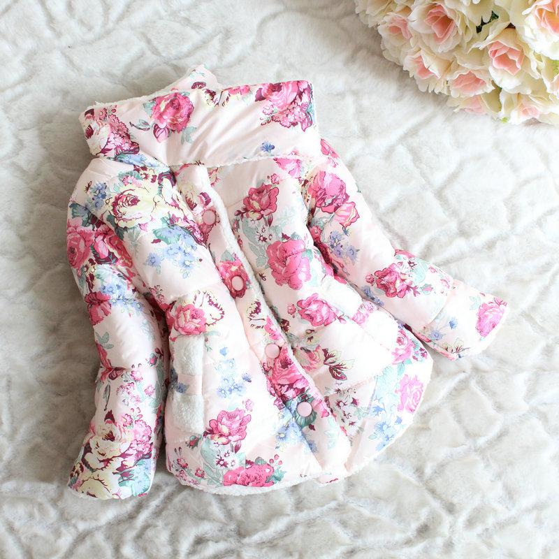 Бренд младенцы зима длинный рукав цветок куртка дети хлопок - мягкий одежда