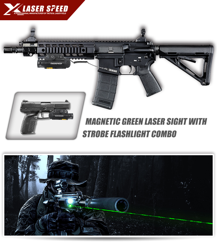 Intelligent magnetic switch rifle green laser self defense weapons
