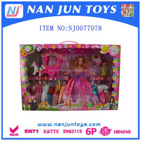 Fashion Sweet Girl Baby Dolls with pretty dresses and clockwork toy horse car
