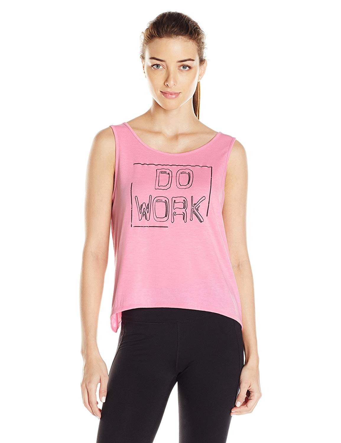 The Warm Up by Jessica Simpson Women's Do Work Tie Back Graphic Tank