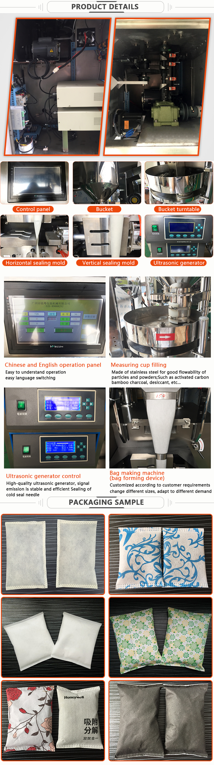 Multi Fungsi Automatic Carbon Powder Sachet Ultrasonik Mesin Kemasan