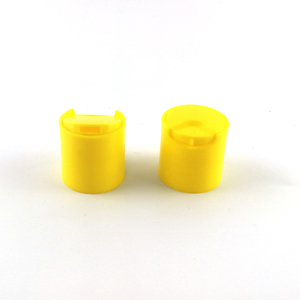 Yellow Smooth top 20/410 Plastic PP Disc Cap for Body Cream and Shower Gel Using