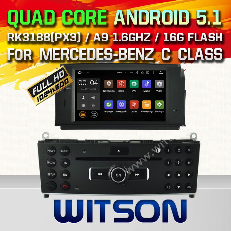 WITSON Android 5.1 CAR DVD GPS For MERCEDES-BENZ C CLASS W204 2007-2011 WITH CHIPSET 1080P 16G ROM WIFI 3G INTERNET DVR SUPPORT