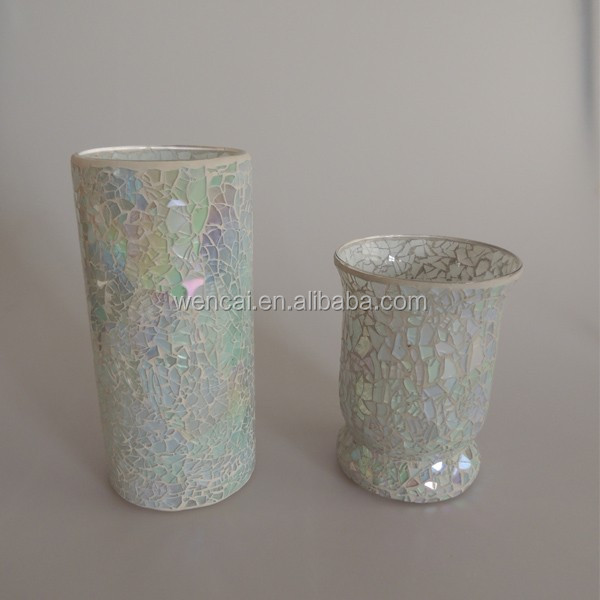 mosaic candle holder with Electroplating patern