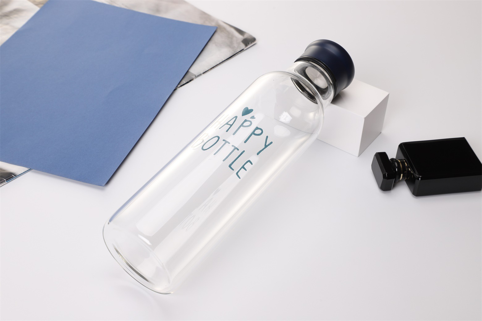 1000ml Portable My Bottle Borosilicate Glass Water Bottle With 304 Stainless Steel Lid