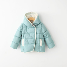Free shipping new 2014 winter baby clothing girls cotton thick padded coat children Quilted hooded outerwear