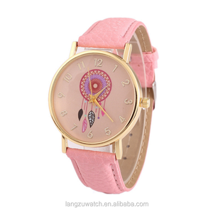 Promotion hot sale fashion leather watches girls different colors strap