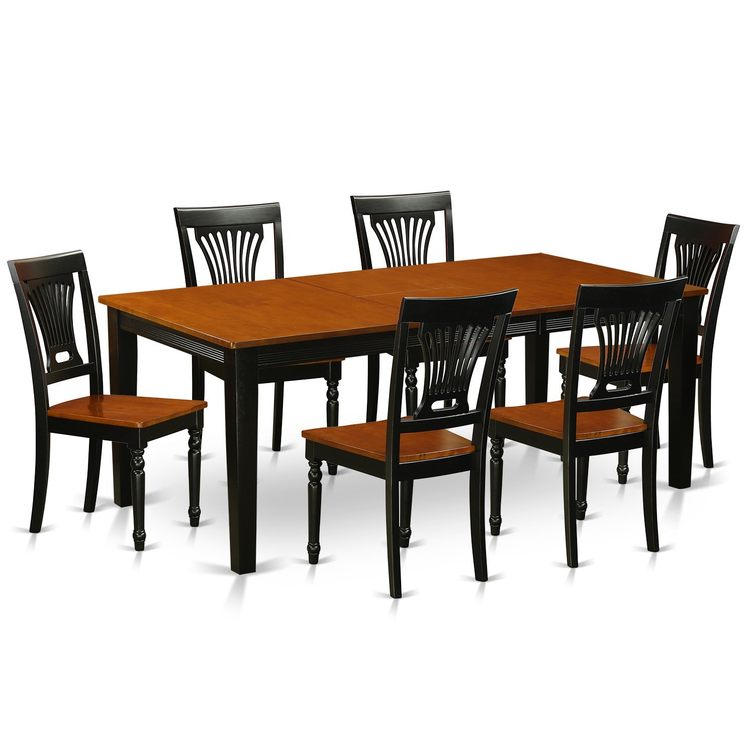 East West Furniture QUPL7-BCH-W 7 Piece Dinette Table and 6 Chairs