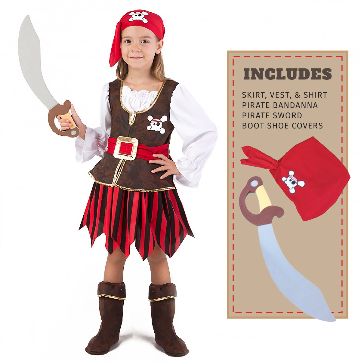 Spooktacular Creations Deluxe Pirate Girl Costume Set