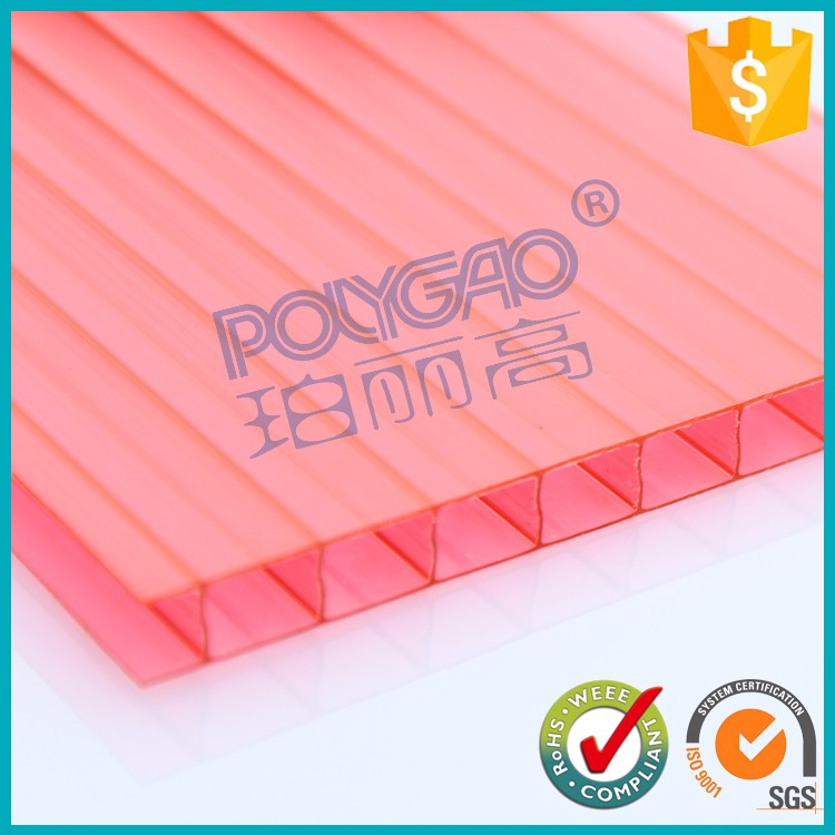 Whole sale Construction use red lexan polycarbonate sheet for decorative plastic wall covering