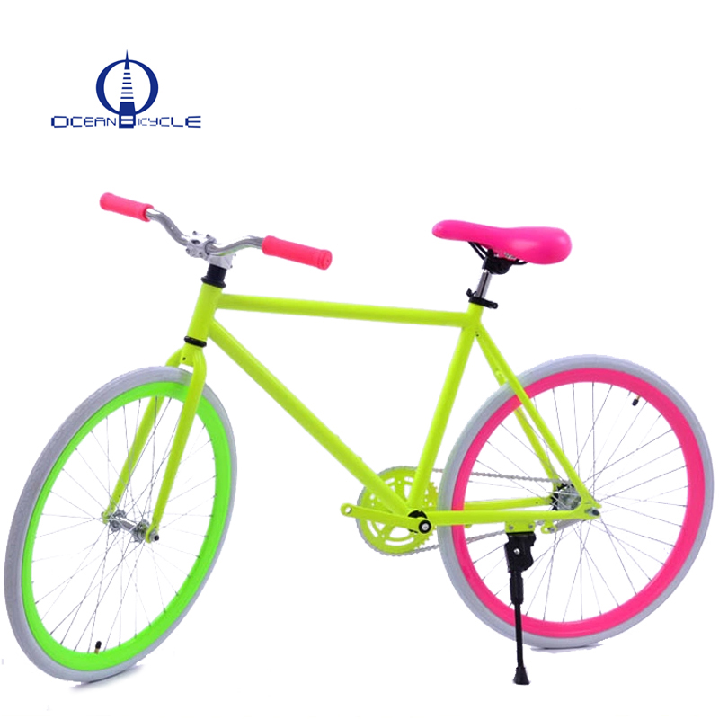 Male and female whole car student fluorescent retro 26 inch inverted brake fixed gear <strong>bicycles</strong>