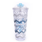 20oz hard plastic double layer water cooler cup with dome lids reusable plastic suction cup with straw