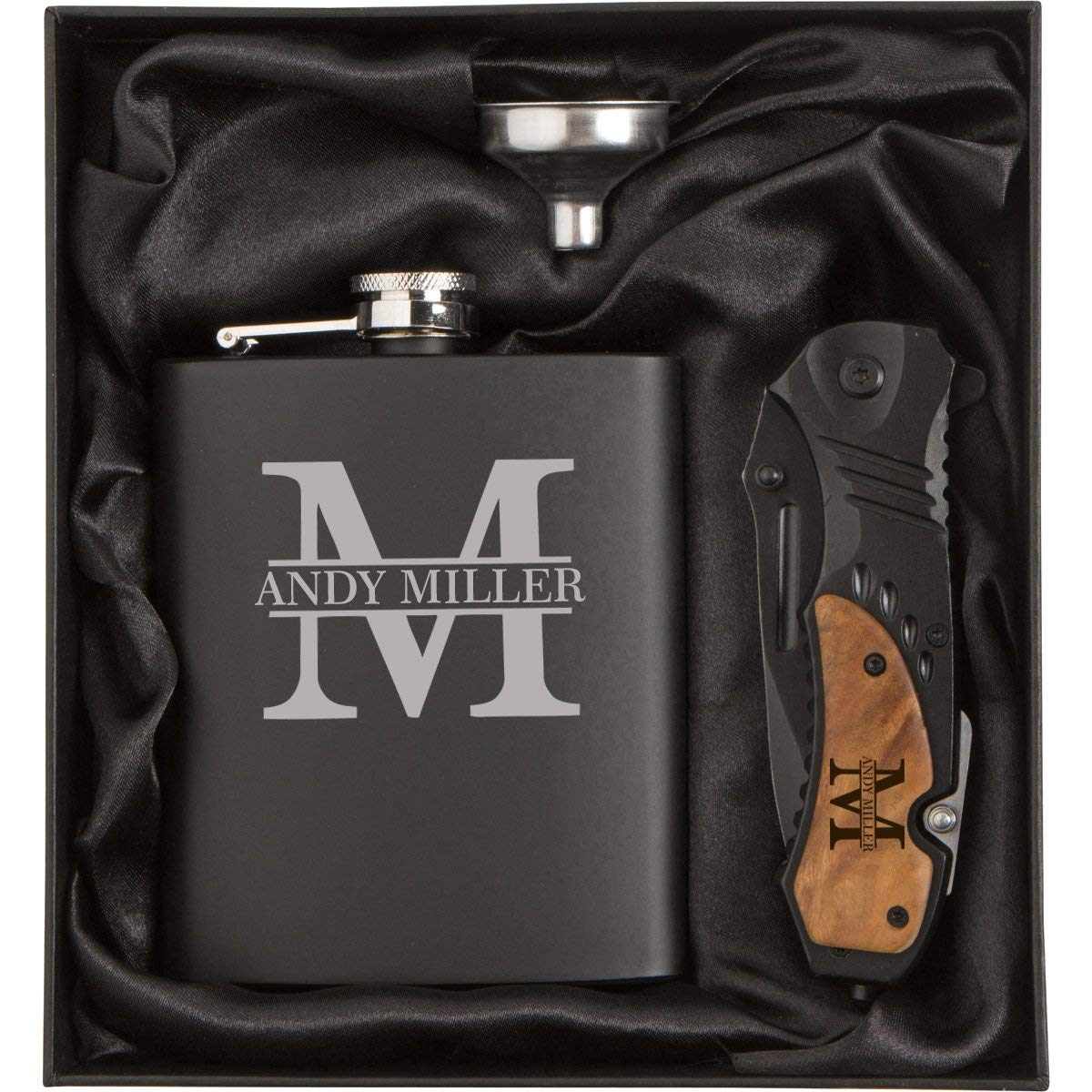Initial Engraved 7 oz Stainless Steel Flask Funnel Rescue Knife Gift Box Set Custom Personalized