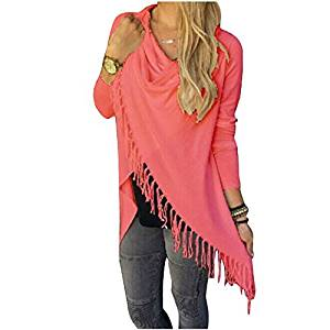 Womens Sweater - SODIAL(R)Womens Capes And Ponchoes Oversized Sweater With Tassel Turtleneck Sweater (Red,XL)