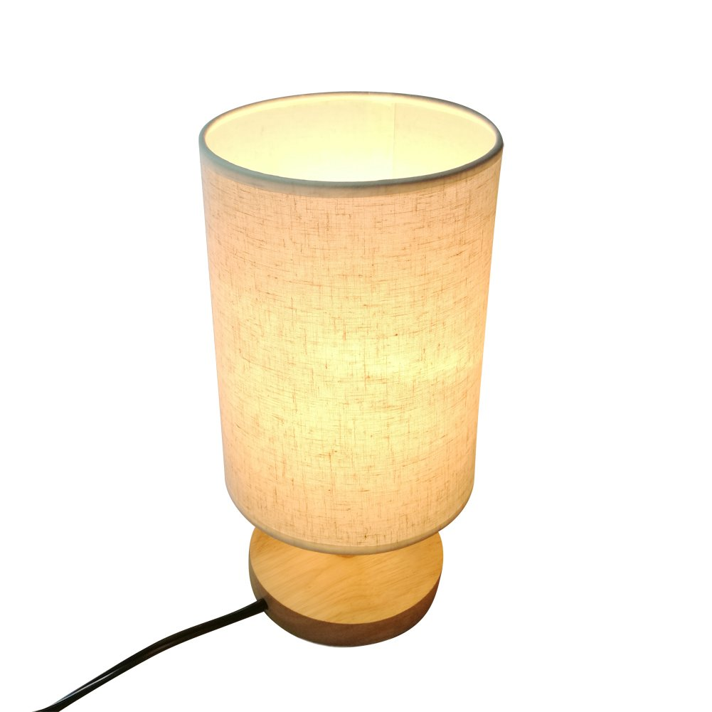 Babali Dimmable Wood Bedside Table Lamp Warm White 40W Bulb Novelty Romantic Table Lights with Minimalist Style Fabric Shade for Bedroom Living Room Baby Room