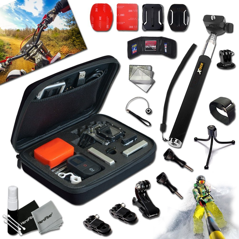 Xtech® Camera Value ACCESSORIES KIT for GoPro HERO4 Hero 4, Hero3+ Hero 3+, HERO3 Hero 3, HERO2 Hero 2, HD Motorsports HERO, Surf Hero, GoPro Hero Naked, GoPro Hero 960, GoPro Hero HD 1080p, GoPro Hero2 Outdoor Edition Digital Cameras Includes: Medium size Custom Camera CASE + Handheld Waterproof