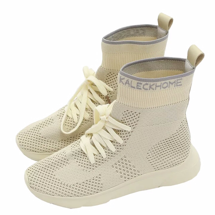 up casual with Like mesh women's new breathable thick knitted high bottom shoes top flat sneaker lace socks xwUBqp