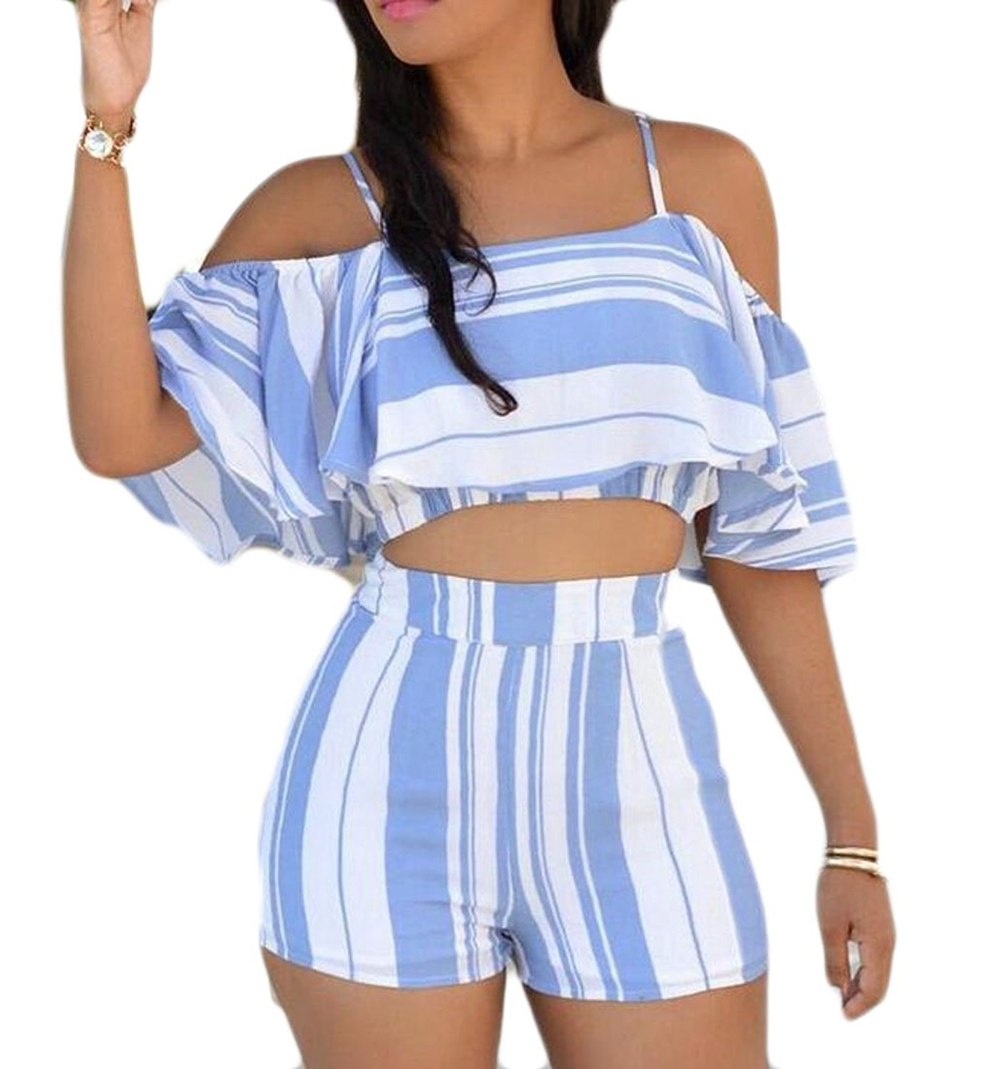 ARTFFEL-Women Two Piece Long Sleeve Stripe Belted Cardigan Blouse /& Pants Outfits