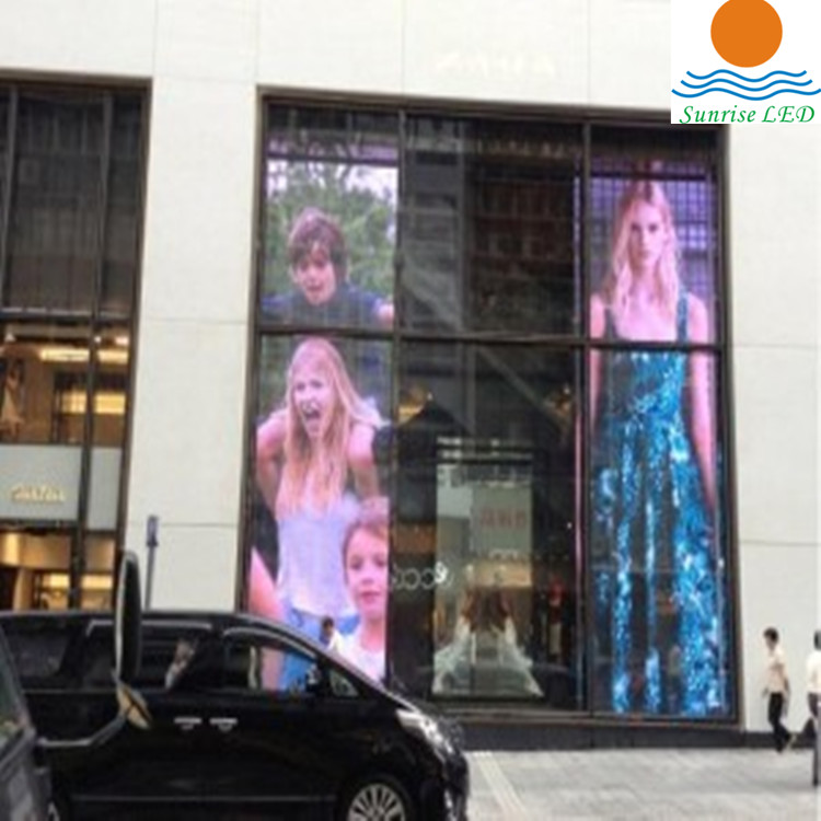 Transparent outdoor led screen P15.625 P31.25 facade led mesh screen for storefront window dipslay