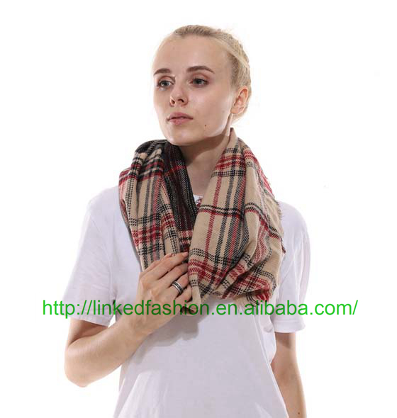 Unisex's Infinity Scarf Checked Winter Warm Cozy Soft Loop Plaid Scarf