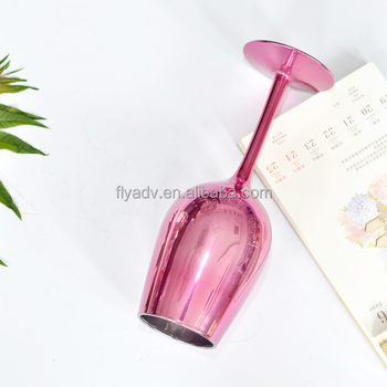 The Funny Long Stem Decorative Pink Wine Glasses for Home and Bar