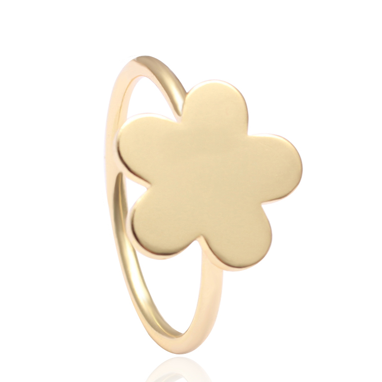 Logo Engraved Color Size Customized Tiny Fashion Ring With Gold Plating Flower Charm Finger Ring Design For Lovely Girl Gift