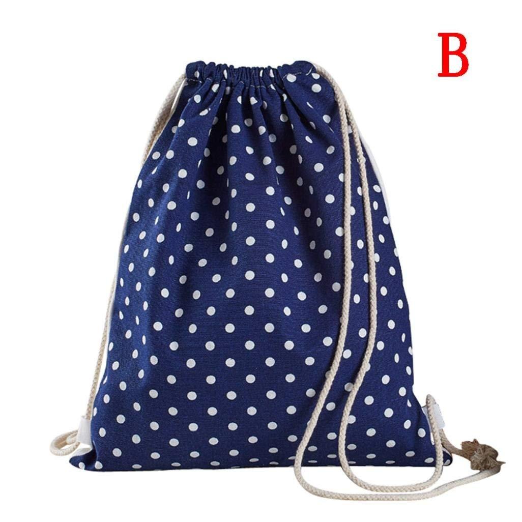 Drawstring Backpack Gym Sackpack Canvas Bohemia Printing High Capacity Bucket Bag Backpack Shoulder Bag for Men & Women