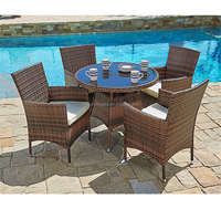 Garden furniture 5pcs rattan wicker dining table set