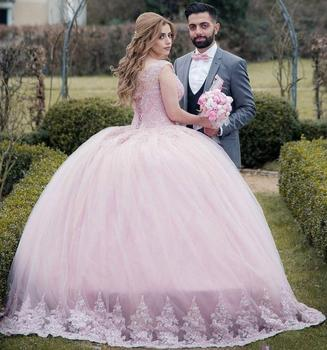 Zh3420g Pink Country Style Lace Wedding Dresses Plus Size Liques Tulle Arabic Formal Exquisite