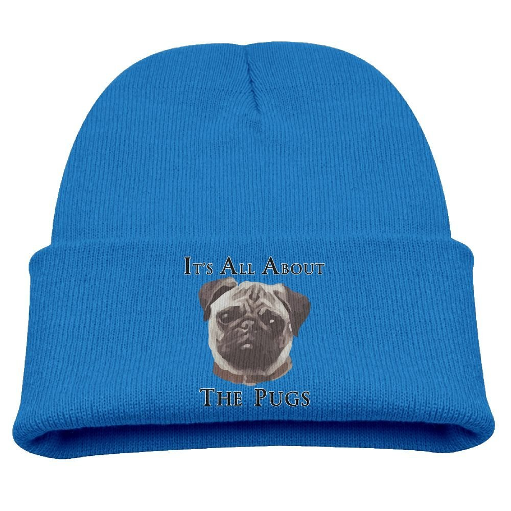 Get Quotations · Funny It s All About The Pugs Unisex Kids Warm Winter Hat  Knit Beanie Skull Cap Cuff 99ff3e9b224