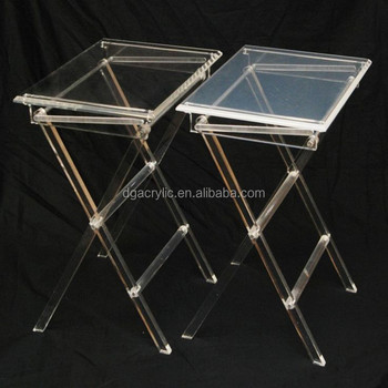 Wholesale Custom Handmade Plastic Perspex Folding Acrylic Tray Tables
