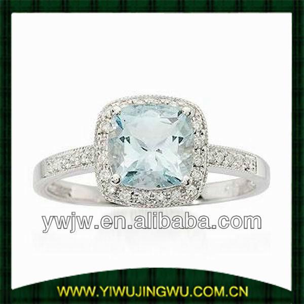 Aquamarine Diamond Wedding Ring In 14k White Gold(jw-g5598)
