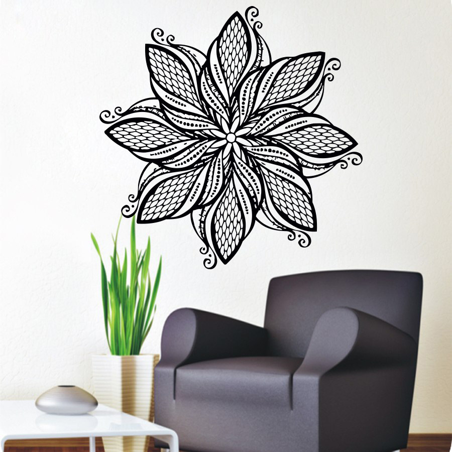 Mandala Flower Wall Stickers Art Vinyl Self Adhesive Home Decor Indian Religious Pattern Wall Murals For Living Room