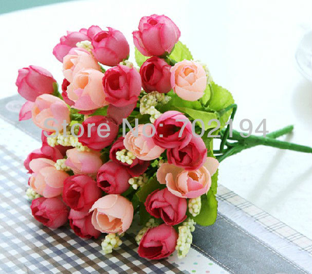 Artificial silk spring Pearl Tea Rose fence Flower home Decoration boda flores 15pcs/lot free shipping