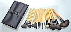 Professional Wooden Handle Cosmetic Brush Set 24 Piece Makeup Brush Set with Premium Synthetic Hair Wooden Handle Cosmetic Makeup Brush kit (Yellow-Black)