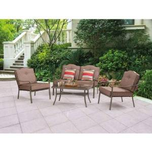 Mainstays Woodland Hills 4-Piece Chat Set with 2-piece Cushion Sofa Chair, Loveseat with Pillows and Coffee Table BROWN