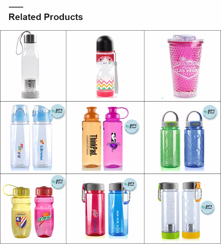 24 oz sports plastic water bottle with hook