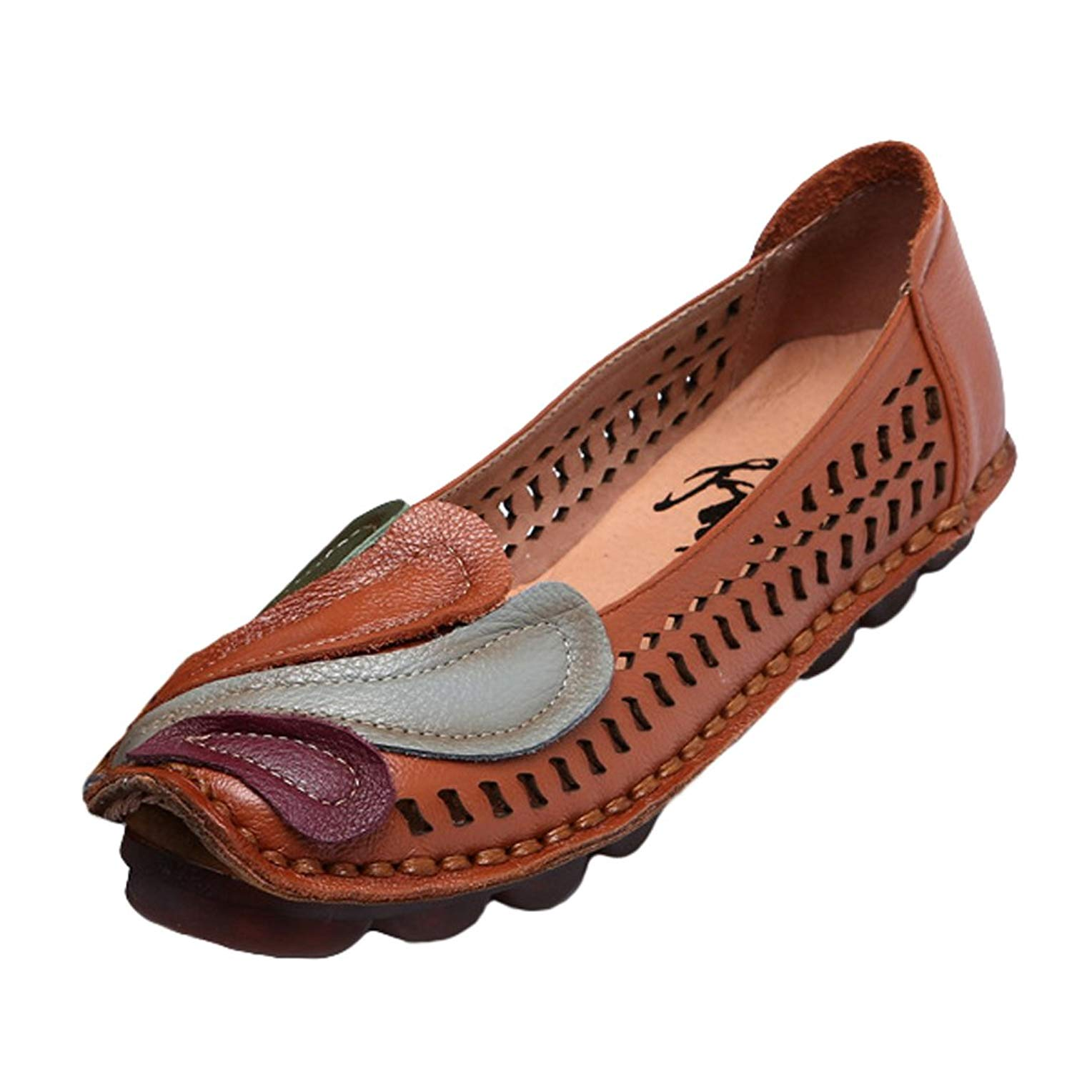 Mordenmiss Women's New Summer Handmade Flat Loafers Flower Pattern Leather Shoes Moccasins
