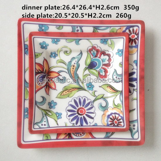 High quality Food grade A5 melamine customized printing dinner plate side plate wholesale