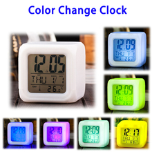 7 Colors Night Glowing LED Cube Color Change Digital Alarm Clock