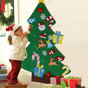 DIY Felt Christmas Tree with Ornaments Wall Hanging Ornaments New Year Gifts Kids Toys Christmas Home Decoration Accessories