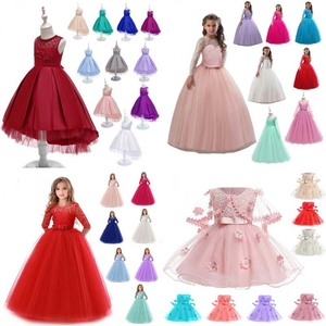 Amazon hot sale 2019 new style Formal Ruffles Lace Wedding Party Evening Princess kids flower baby girl dress for girl 2-10 year